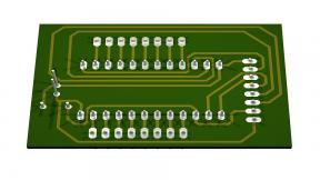 3D POV-Ray rendering of 16 to 1 multiplexer breakout board circuit side.